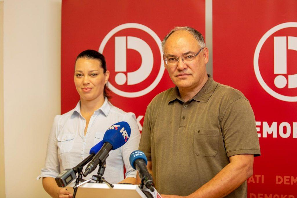 Maja Saric, predsjednica Demokrata Istre i Damir Kajin, nezavisni kandidat i nositelj liste u 8. IJ koalicije Demokrata i Hrvatskih laburista, photo: Srecko Niketic-PIXSELL.jpg